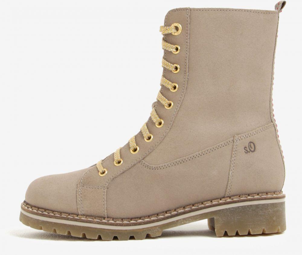 Béžové dámske kožené zimné členkové topánky s.Oliver značky s.Oliver -  Lovely.sk 2309d4db80d