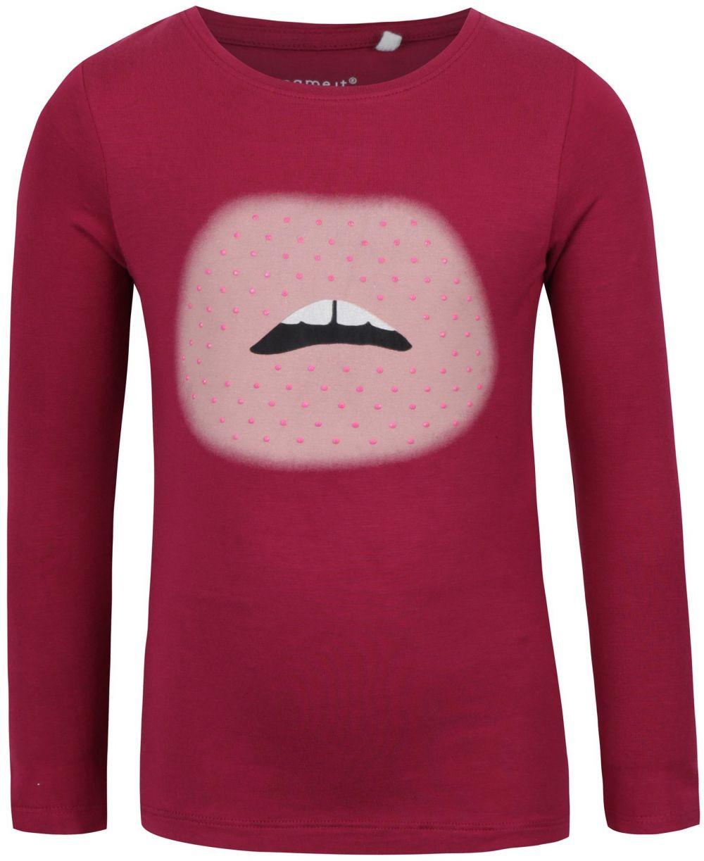 3dd6af41dbf7 Ružové dievčenské tričko s potlačou a dlhým rukávom name it Hips značky  name it - Lovely.sk