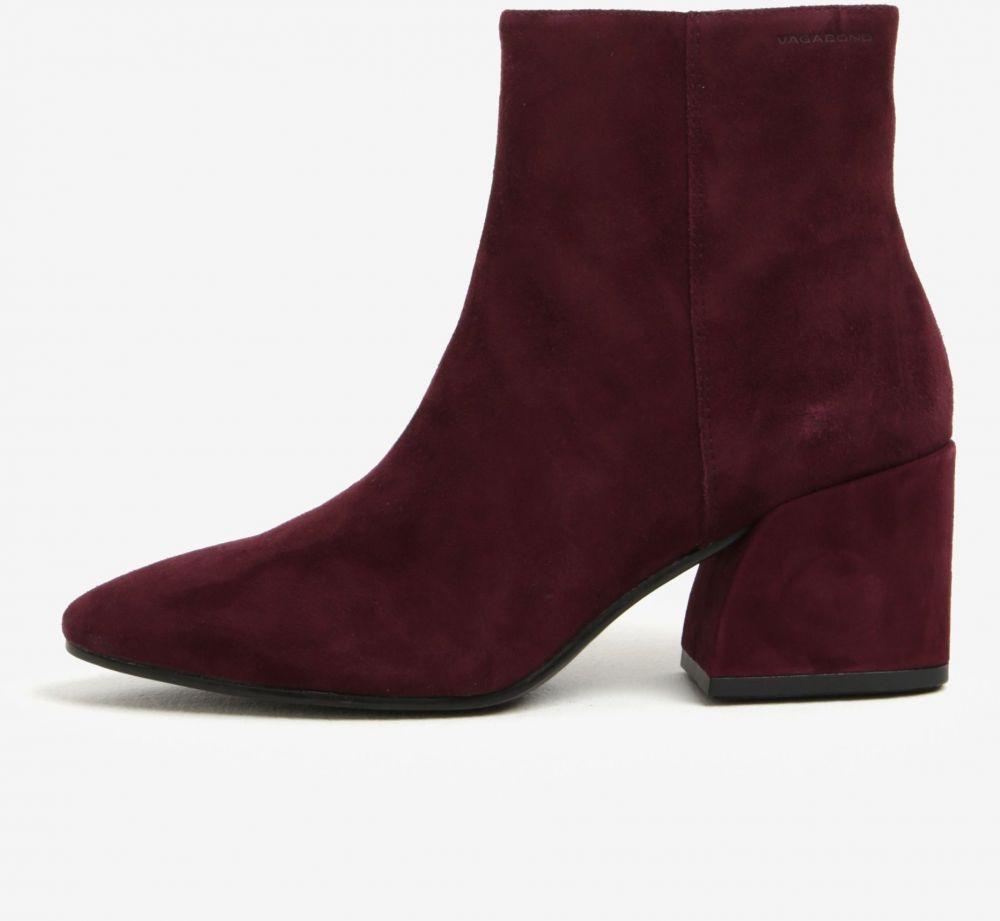 4bfe0749bf Vínové dámske semišové členkové topánky na podpätku Vagabond Olivia značky  Vagabond - Lovely.sk