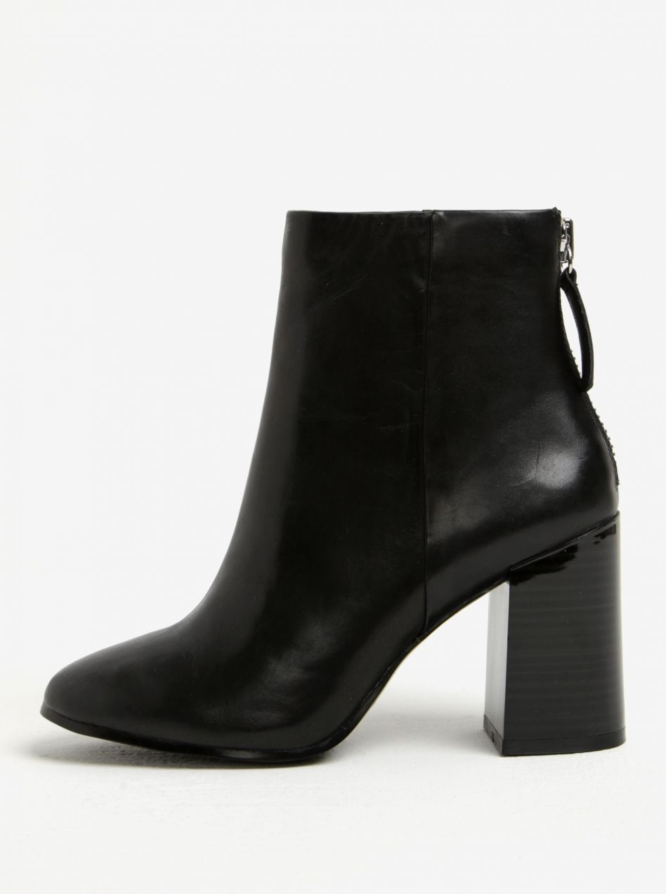 ed3f74e98 Čierne dámske kožené členkové topánky na podpätku ALDO Jola značky ALDO -  Lovely.sk