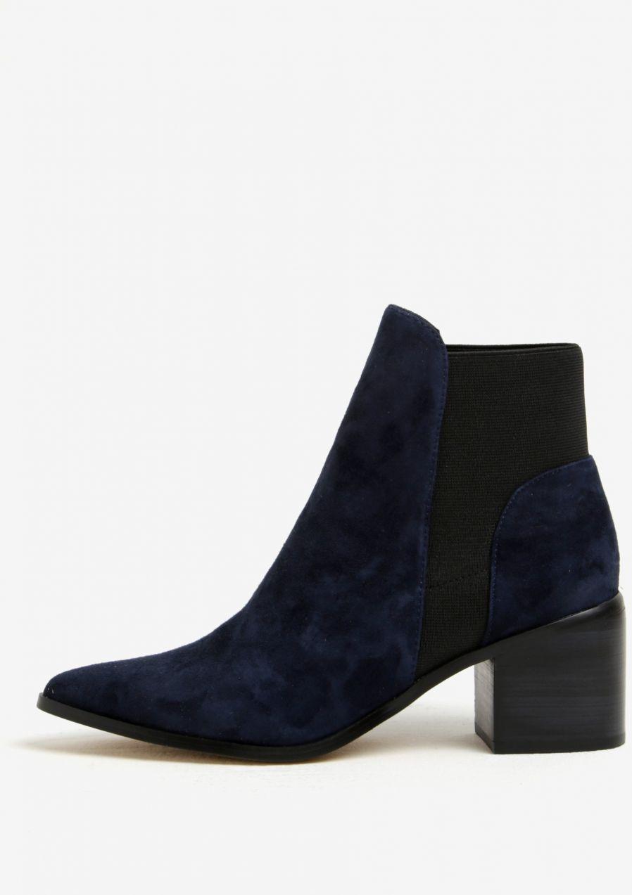 946e2a4fbb0c2 Tmavomodré dámske semišové členkové topánky na podpätku ALDO Etiwiel značky  ALDO - Lovely.sk