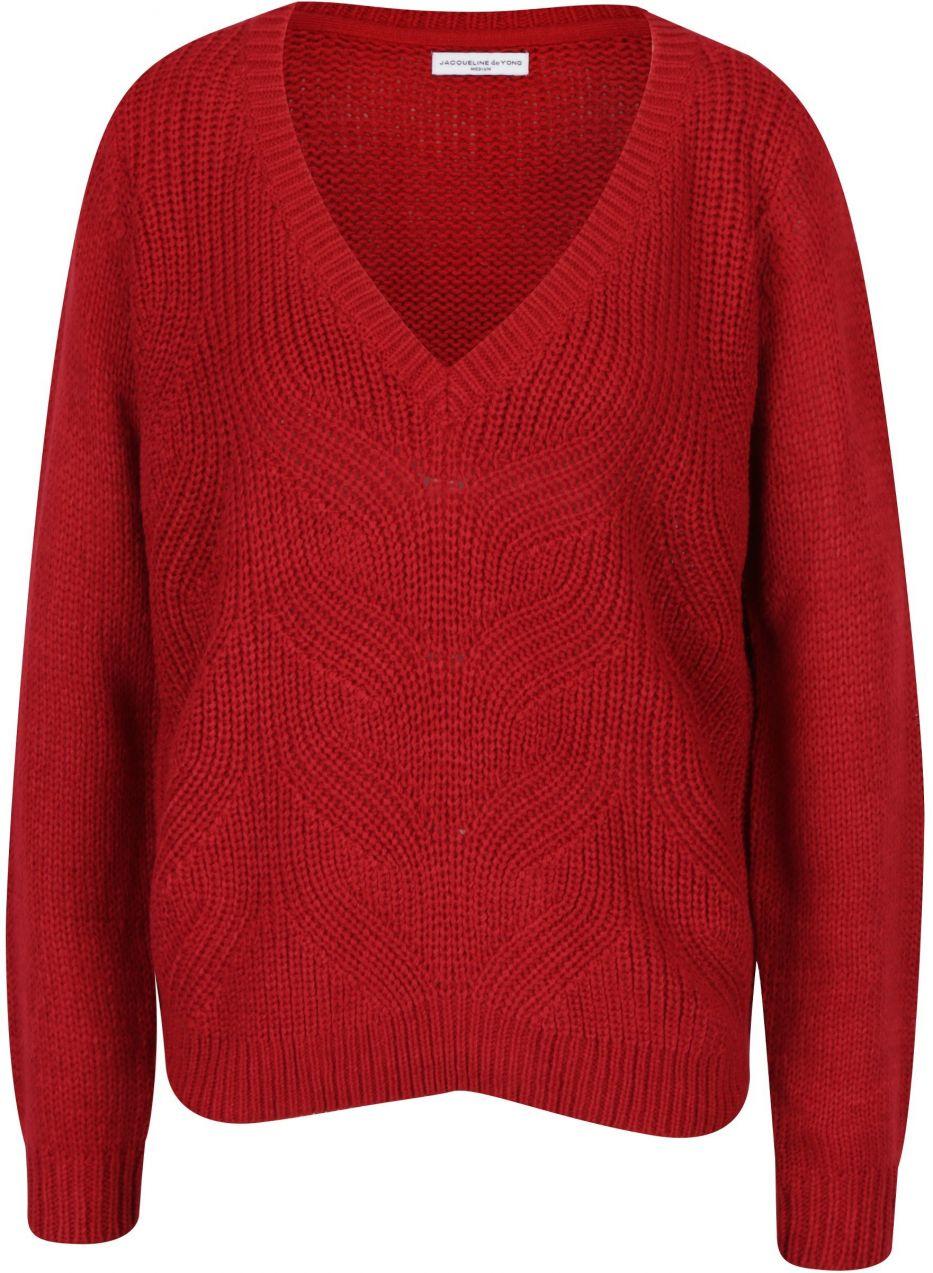 Červený sveter s véčkovým výstrihom Jacqueline de Yong Drink značky  Jacqueline de Yong - Lovely.sk 4b8d6d1d2b7