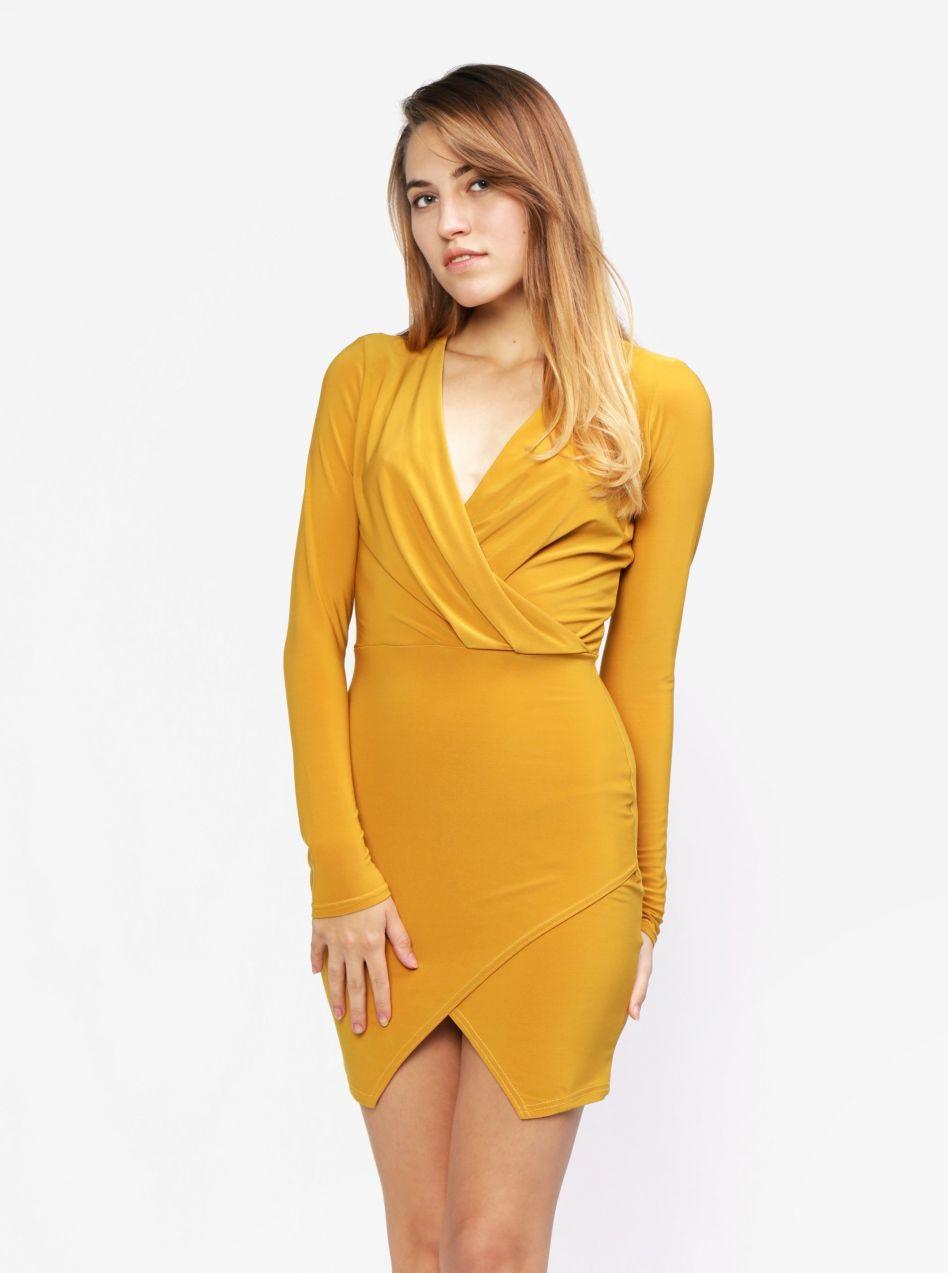 16a749a4407e Horčicové šaty s prekladaným výstrihom MISSGUIDED značky Missguided -  Lovely.sk