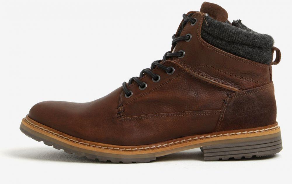 Hnedé pánske kožené členkové zimné topánky na zips Bullboxer značky ... ab554cb0f7a