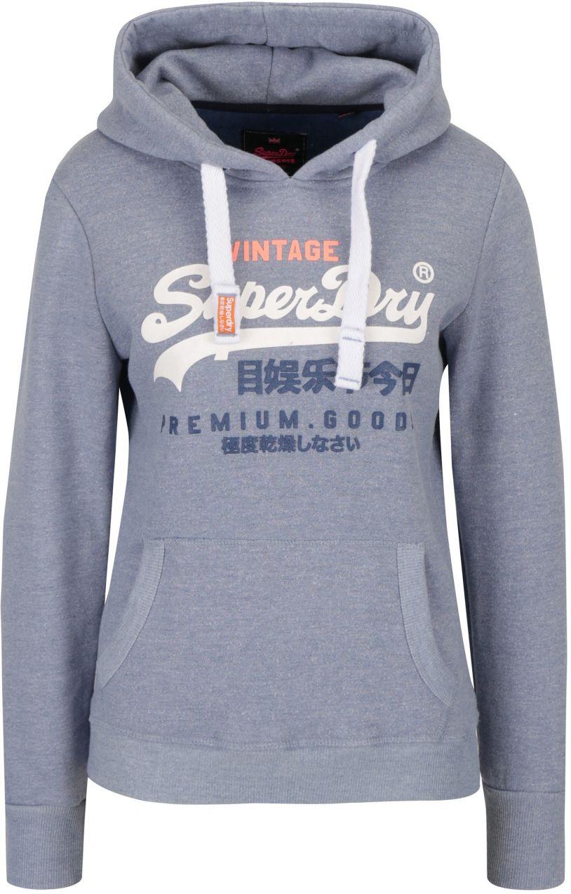 Modrá dámska mikina s kapucňou a potlačou Superdry Premium značky SuperDry  - Lovely.sk 2259fa18b44