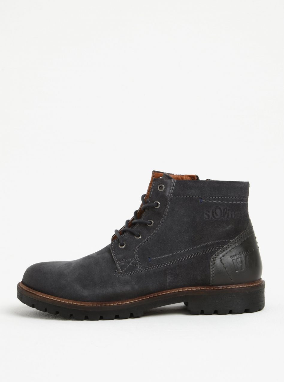 Tmavosivé pánske semišové členkové topánky s.Oliver značky s.Oliver -  Lovely.sk aa5957faed0