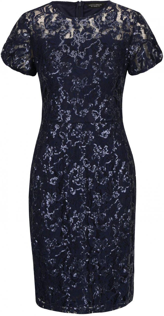 fdc48a72bcb8 Tmavomodré čipkované puzdrové šaty s flitrami Dorothy Perkins značky  Dorothy Perkins - Lovely.sk