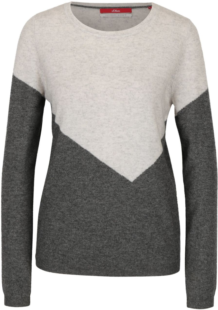 d49e1aebe97d Krémovo-sivý dámsky vlnený sveter s prímesou kašmíru s.Oliver značky  s.Oliver - Lovely.sk