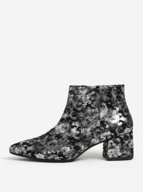 Čierno-sivé dámske kožené vzorované členkové topánky Vagabond Mya 504d05cfbed