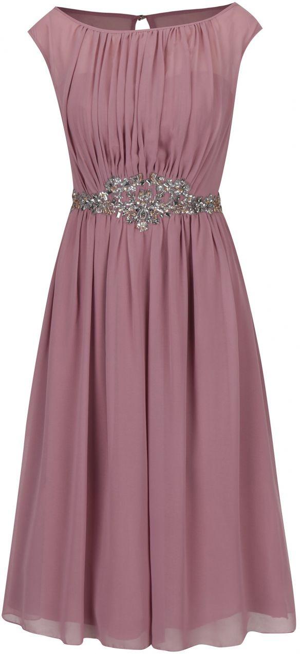 58866254614c Staroružové šaty bez rukávov s ozdobnou aplikáciou Little Mistress značky Little  Mistress - Lovely.sk