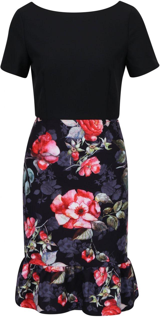Čierne šaty s kvetovanou sukňou Paper Dolls značky Paper Dolls - Lovely.sk 8904bbb0d1f