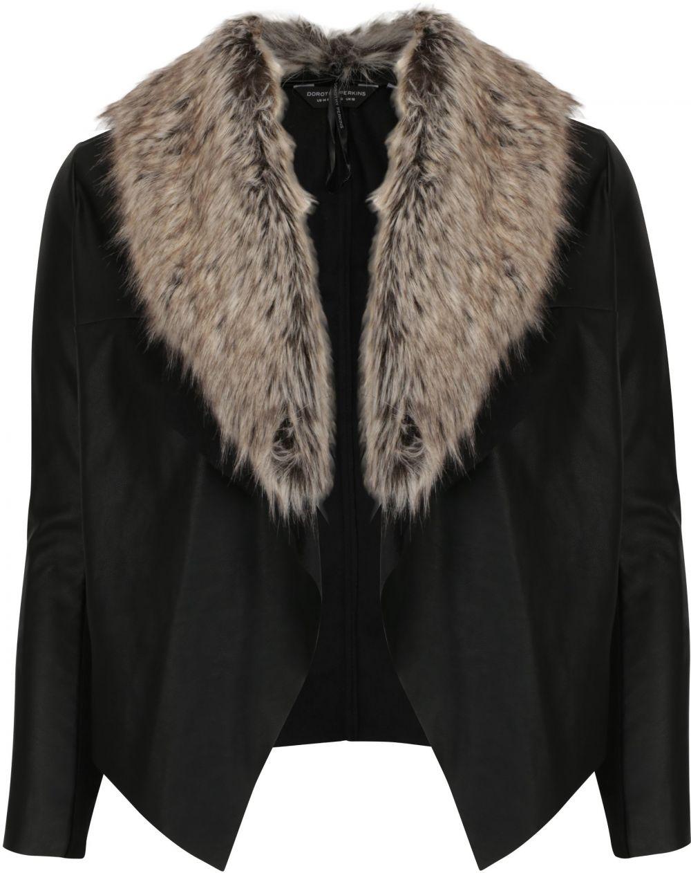 Čierna koženková bunda s umelým kožúškom Dorothy Perkins Curve značky Dorothy  Perkins Curve - Lovely.sk b7f0de44794