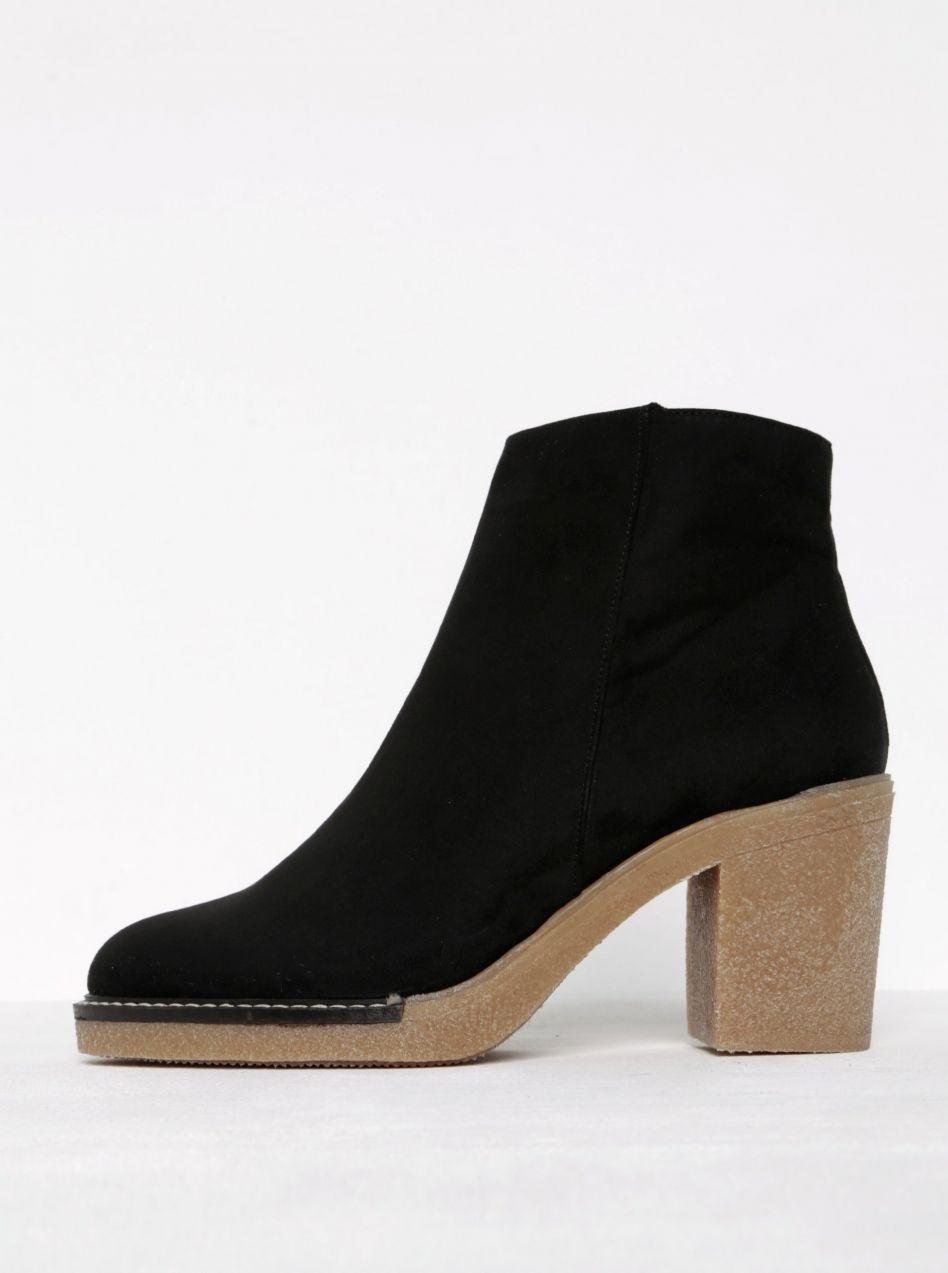 8cd7abbc3fea Čierne členkové topánky v semišovej úprave na podpätku OJJU značky OJJU -  Lovely.sk
