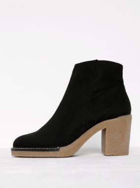 5436945382d9 Čierne členkové topánky v semišovej úprave na podpätku OJJU
