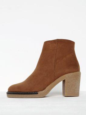 3b4745ccd8 Hnedé členkové topánky v semišovej úprave na podpätku OJJU