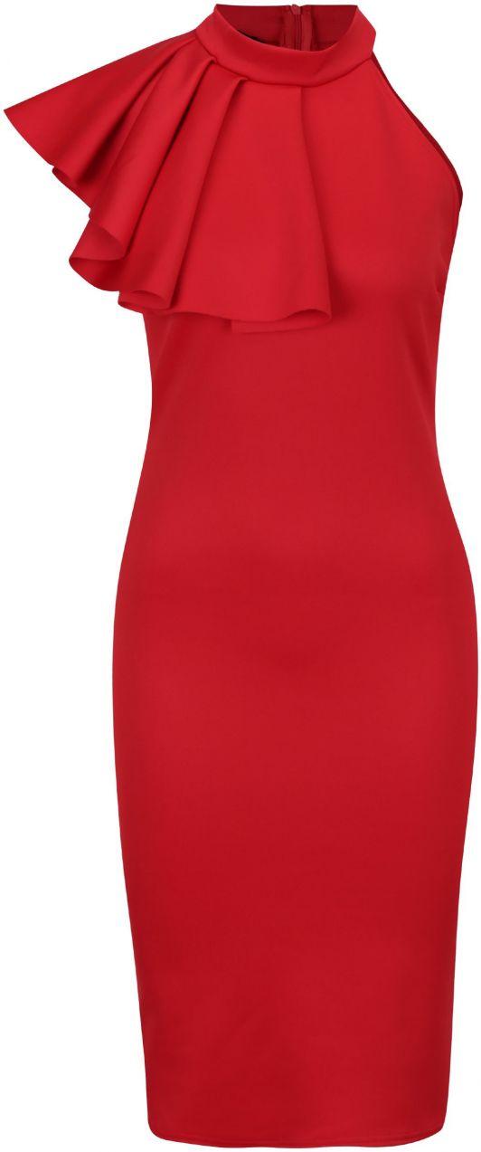 Červené puzdrové šaty s volánom ZOOT značky ZOOT - Lovely.sk 35c2041ce4f
