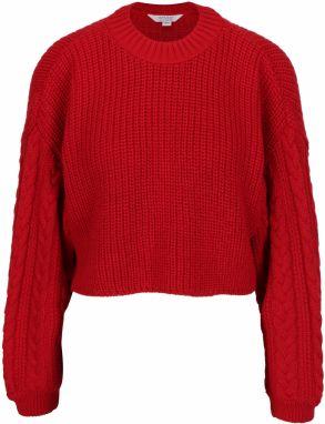 6f28461d8e Červený rebrovaný crop sveter Miss Selfridge