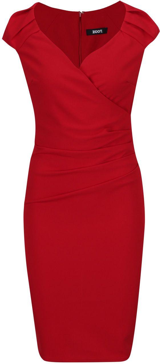 Červené puzdrové šaty s prekladaným výstrihom ZOOT značky ZOOT - Lovely.sk 7ab69ccb32f