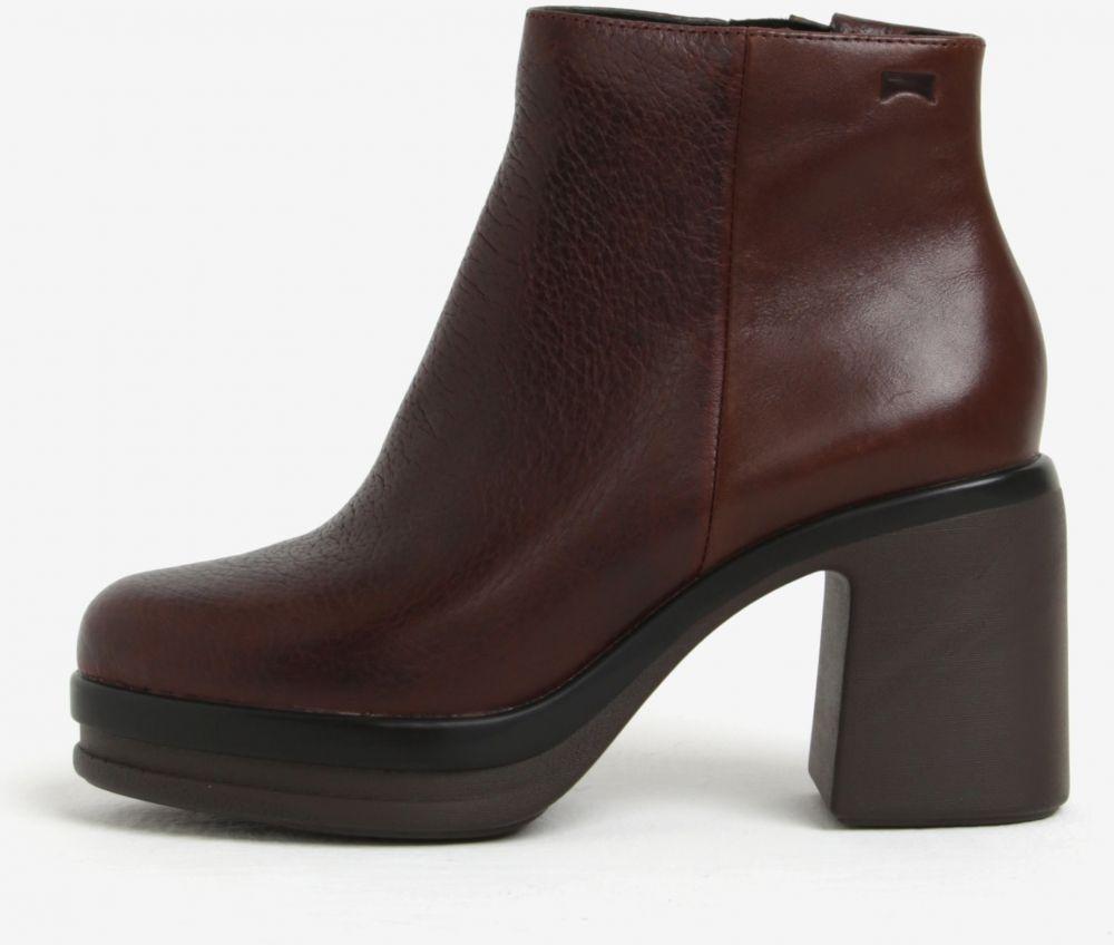 3d4ef5c2ba Hnedé dámske členkové kožené topánky na podpätku Camper Cigar značky Camper  - Lovely.sk