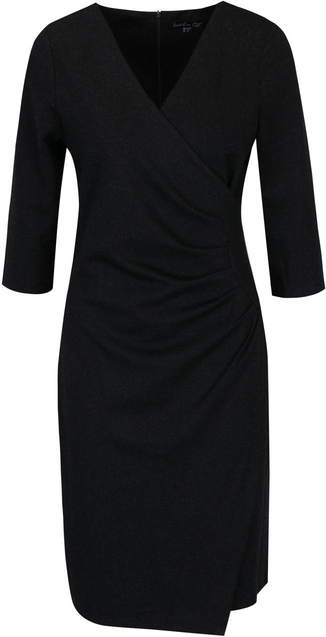 Čierne šaty s prekladaným výstrihom a zberkaním na boku Smashed Lemon  značky Smashed Lemon - Lovely.sk 8ac5f055d39