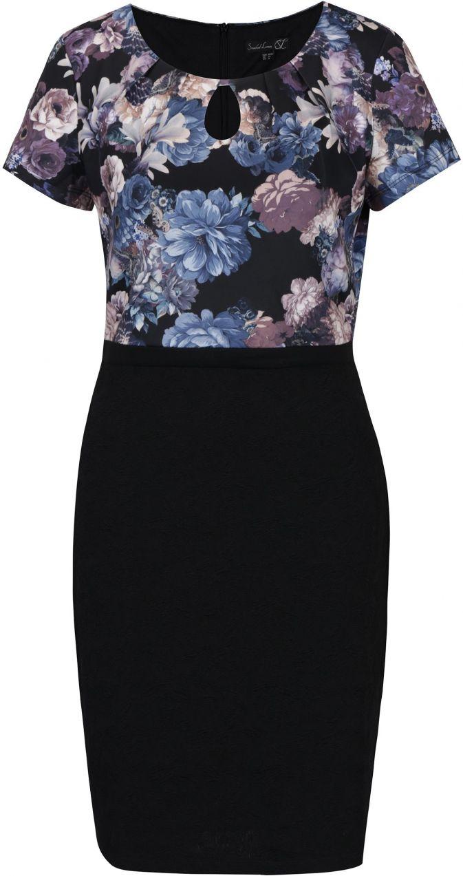 Čierne kvetované šaty s prestrihom v dekolte Smashed Lemon značky Smashed  Lemon - Lovely.sk f16a4f4217b