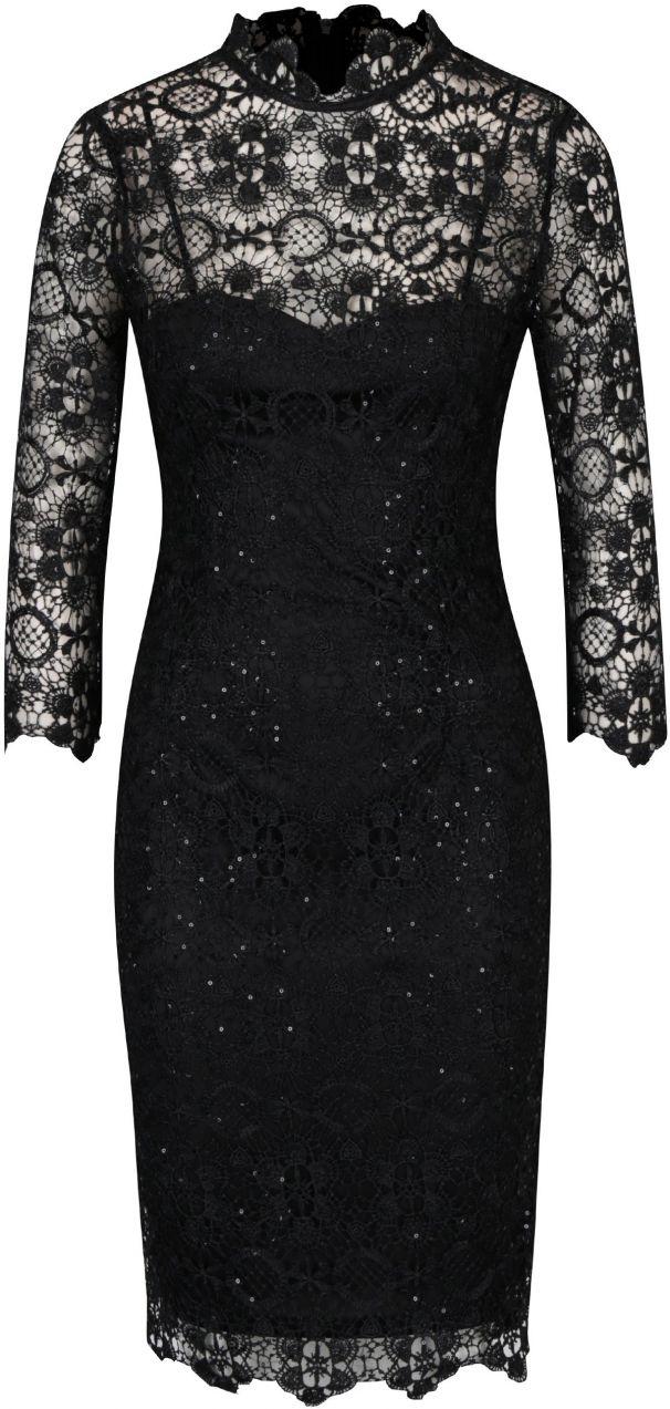 Čierne čipkované šaty s 3 4 rukávom Paper Dolls značky Paper Dolls -  Lovely.sk 88393169d94