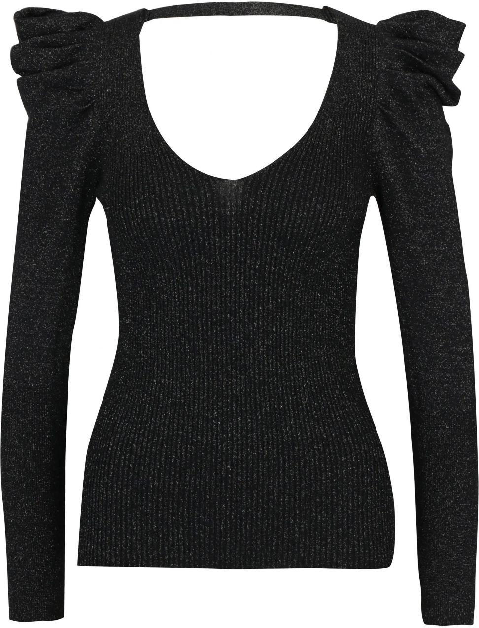 40bf85ddc147 Čierny trblietavý sveter s riasením na rukávoch Miss Selfridge značky Miss  Selfridge - Lovely.sk