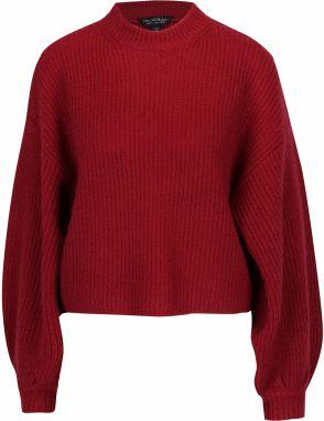 278d41ace0 Vínový krátky sveter s prímesou vlny a balónovými rukávmi Miss Selfridge