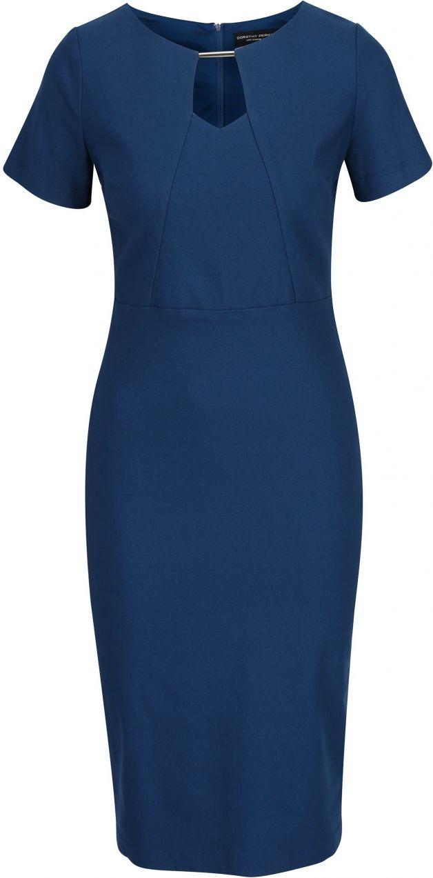 330f044f503c Modré puzdrové šaty s kovovým detailom v dekolte Dorothy Perkins značky  Dorothy Perkins - Lovely.sk
