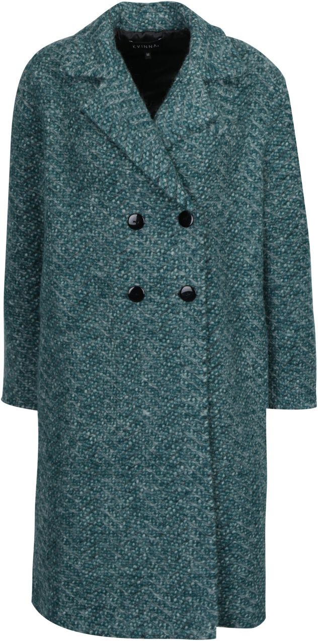 Zelený zimný vlnený kabát s podšívkou s prímesou hodvábu Kvinna ... c5164dc3979