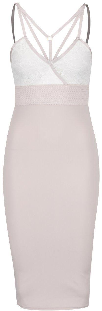 Staroružové puzdrové šaty s čipkou a pásikmi v dekolte AX Paris značky AX  Paris - Lovely.sk 2cf11666ea9