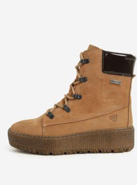 9a110634ff Hnedé členkové kožené topánky s vlnenou podšívkou Tamaris