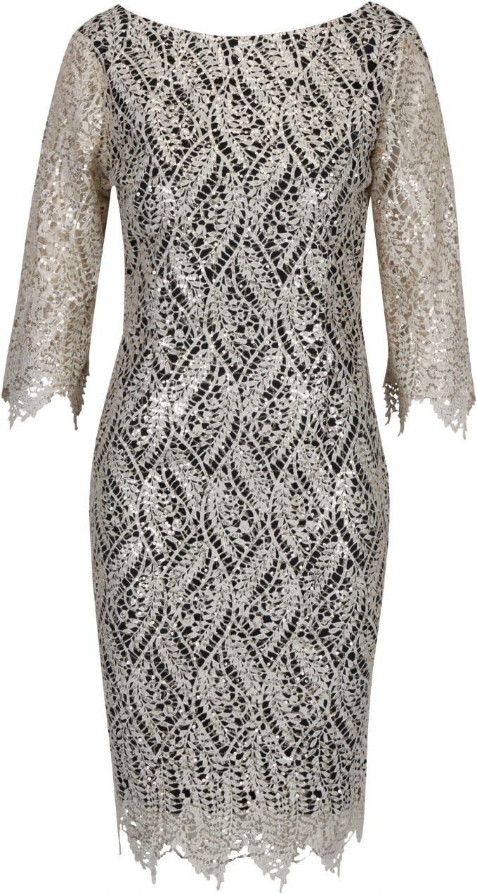 Čierne puzdrové čipkované šaty s flitrami v zlatej farbe Paper Dolls značky Paper  Dolls - Lovely.sk d65dc73be59