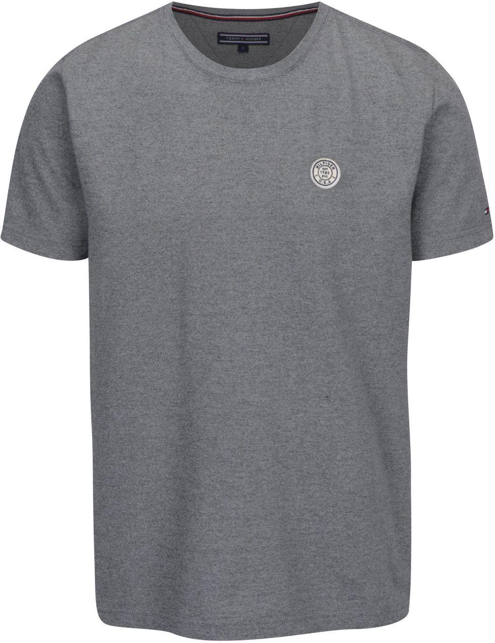 Sivé pánske melírované tričko s krátkym rukávom Tommy Hilfiger Pando značky Tommy  Hilfiger - Lovely.sk ef152ac1de6
