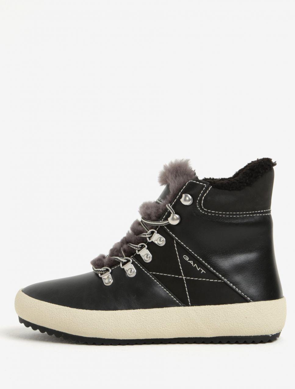 e53b237c2d44 Čierne dámske kožené zateplené členkové topánky GANT Amy značky Gant -  Lovely.sk
