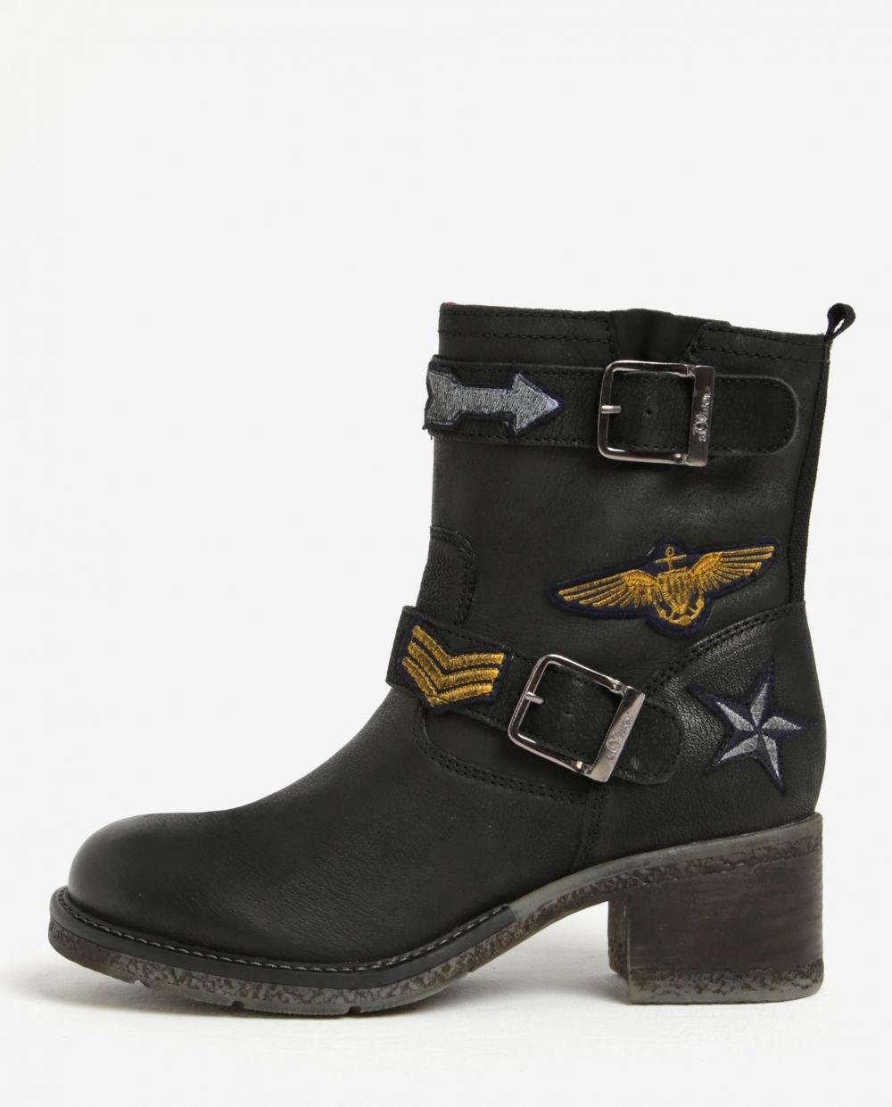 28f01a6cf3de Čierne dámske zimné kožené členkové topánky s.Oliver značky s.Oliver -  Lovely.sk