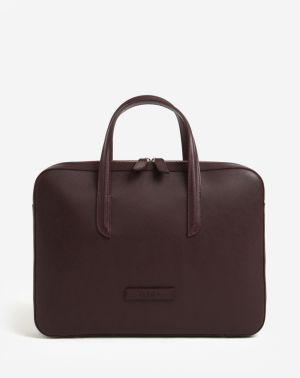 Vínová dámska kožená taška na notebook ELEGA Lester 986bc170186