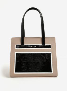 Čierno-béžová kožená kabelka ELEGA Isabela dec62d52acb