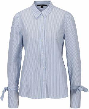 d836e4291fb5 Modro-biela pruhovaná košeľa so zaväzovaním na rukávoch VERO MODA Juljane