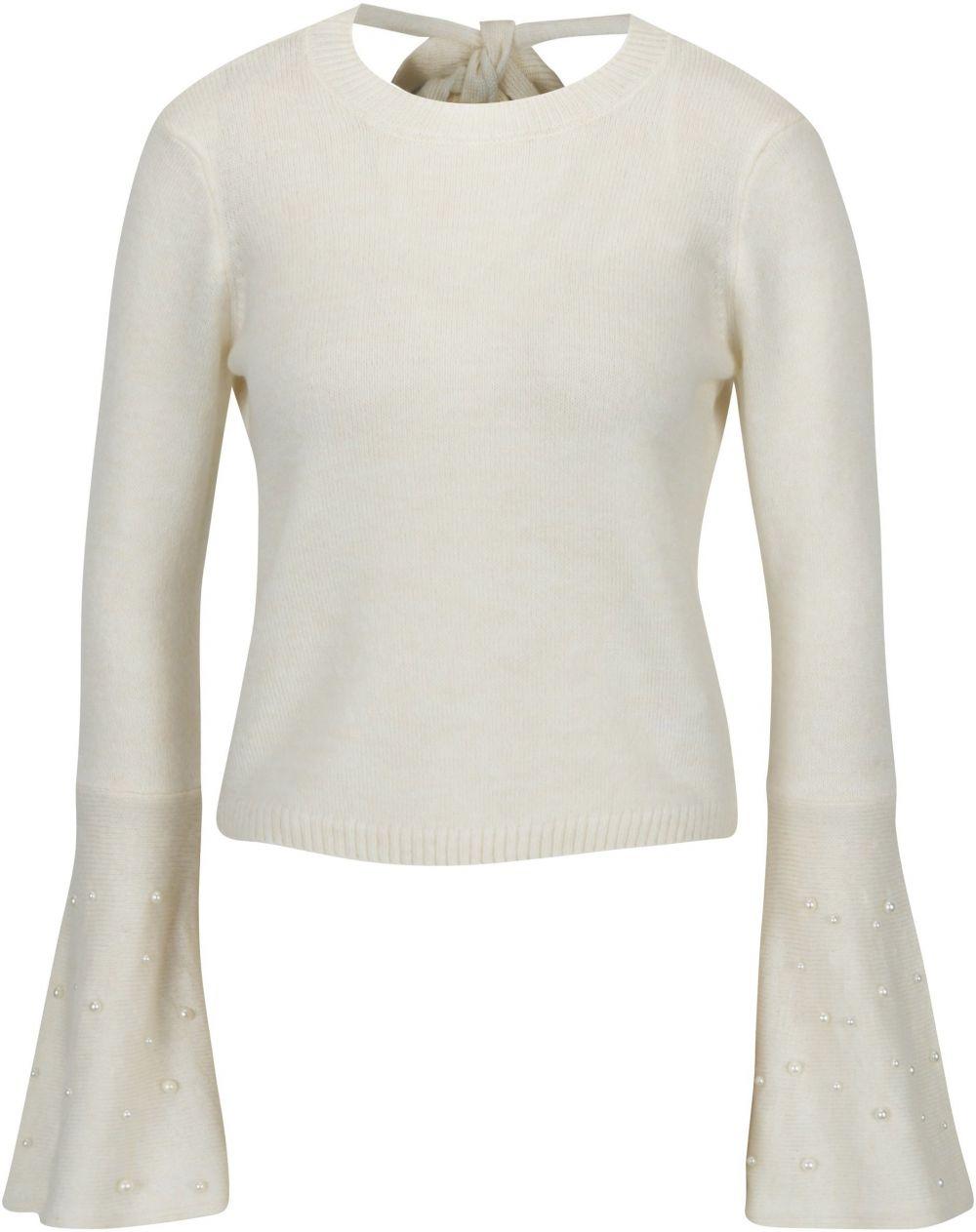 82c8c77871fc Krémový krátky sveter so zvonovými rukávmi a odhaleným chrbtom Miss  Selfridge