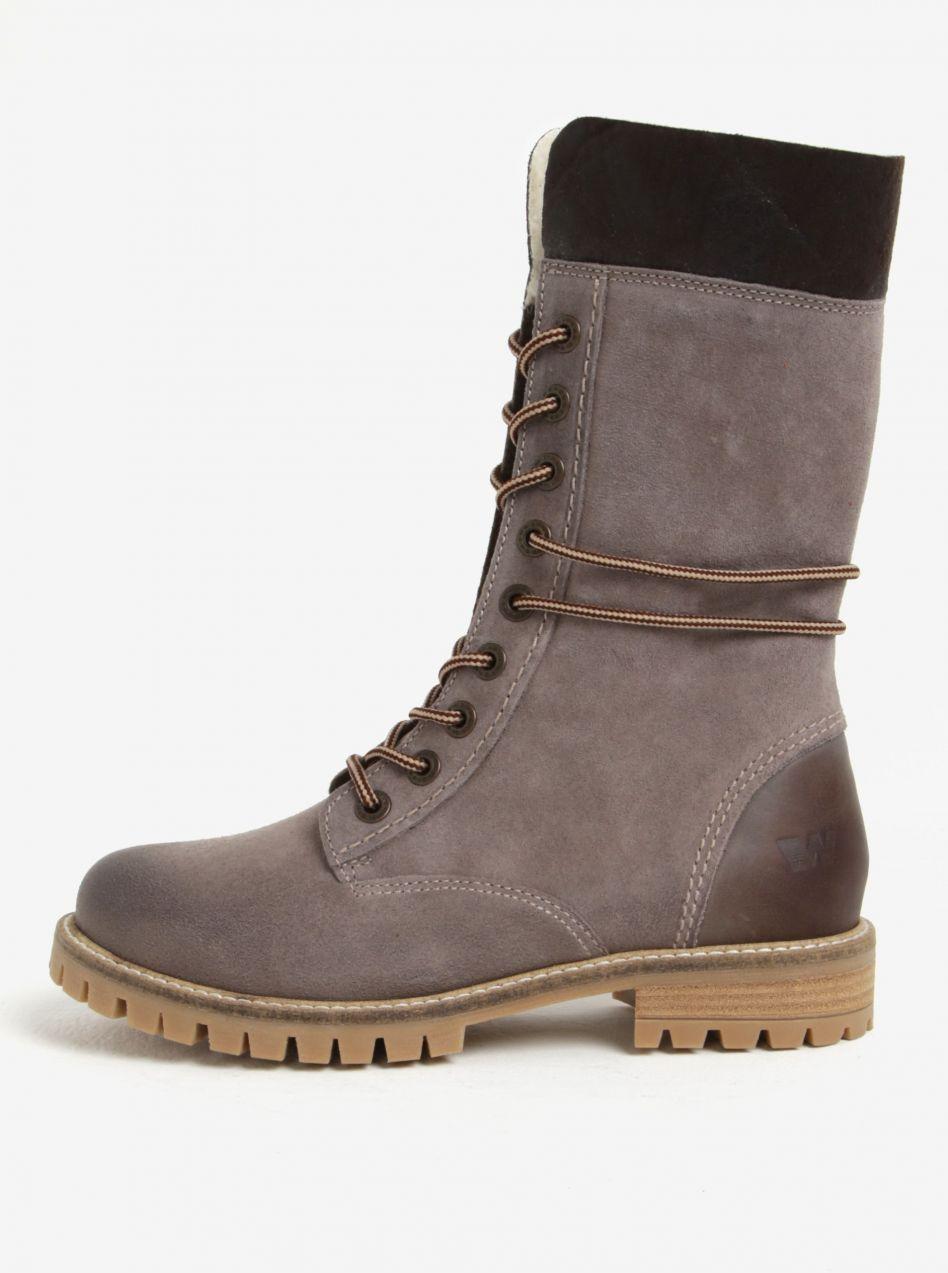 Sivé dámske kožené zimné členkové topánky Weinbrenner značky Weinbrenner -  Lovely.sk ad4f5fb1969