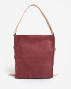 Krémovo–vínová kožená kabelka ELEGA Malý Buffy 730c5f30c1a