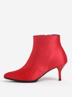 Červené členkové topánky na podpätku OJJU 97fc55d4d00