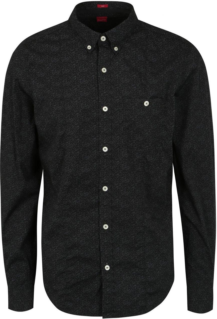 6f63988b51b4 Čierna pánska vzorovaná slim fit košeľa s.Oliver značky s.Oliver - Lovely.sk