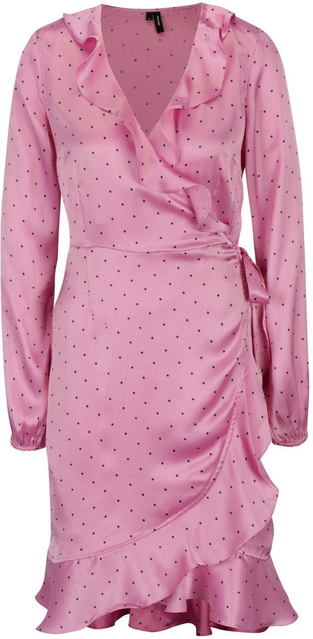ad7fbdc2cd90 Ružové bodkované zavinovacie šaty VERO MODA Henna značky Vero Moda -  Lovely.sk