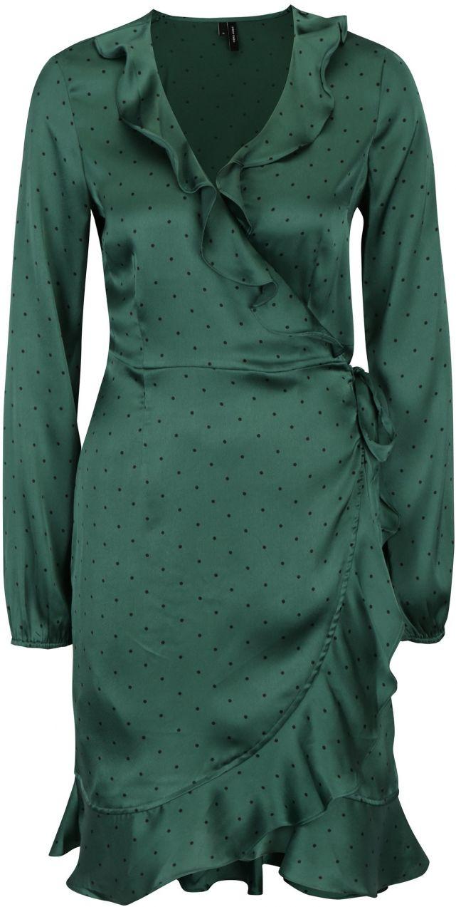 ac921ed5b5af Tmavozelené bodkované zavinovacie šaty VERO MODA Henna značky Vero Moda -  Lovely.sk