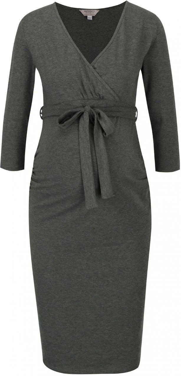 88c89c0e2 Sivé tehotenské šaty s prekladaným výstrihom Dorothy Perkins Maternity