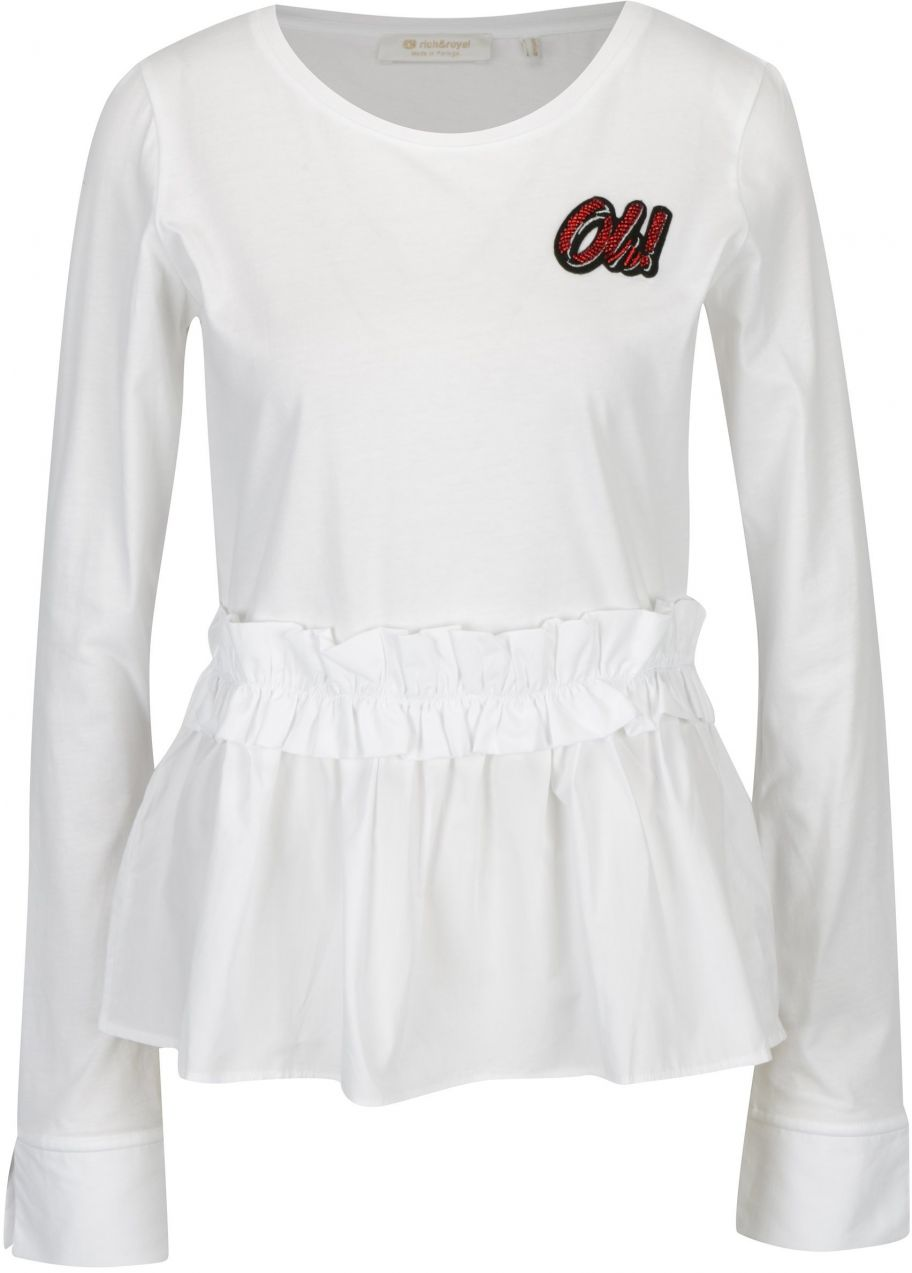 75442d4da173 Biele tričko s volánom Rich   Royal značky RICH ROYAL - Lovely.sk
