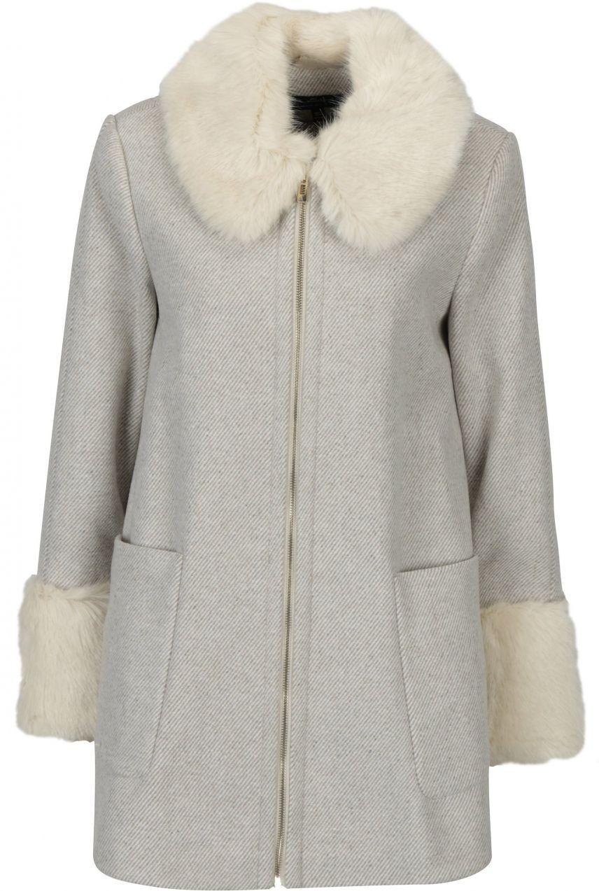 Béžový pruhovaný kabát s umelou kožušinou Miss Selfridge značky Miss ... e4aa789b3e7