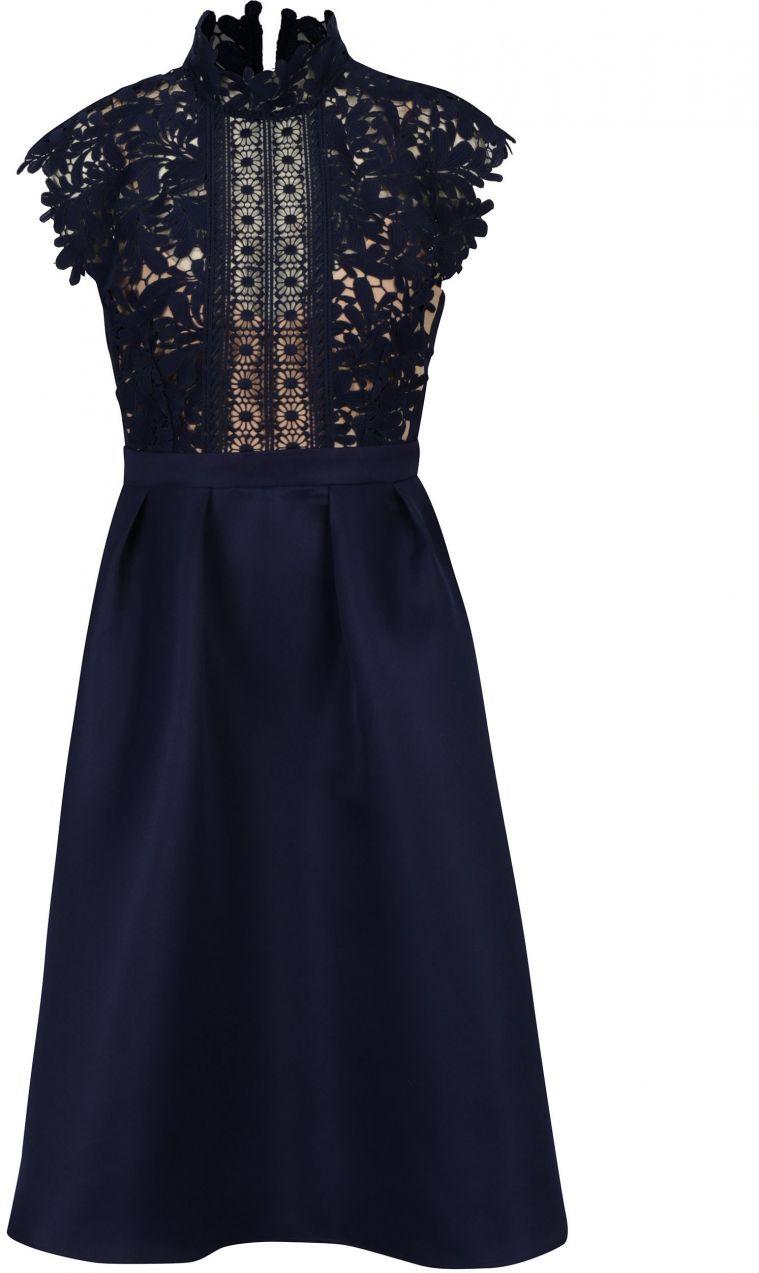f8cdf2faa2 Tmavomodré šaty s čipkovaným topom a stojáčikom Little Mistress značky  Little Mistress - Lovely.sk